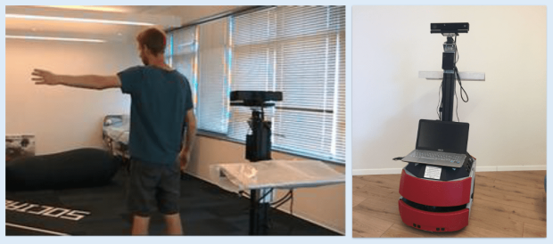 Multimodal communication for guiding a person following robot