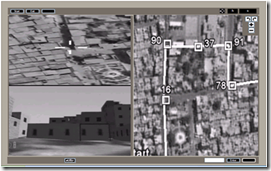 B&W images of a map and video from an unmanned aerial and ground vehicle